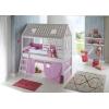 Hochbett lila rosa mit Haus und rutsche