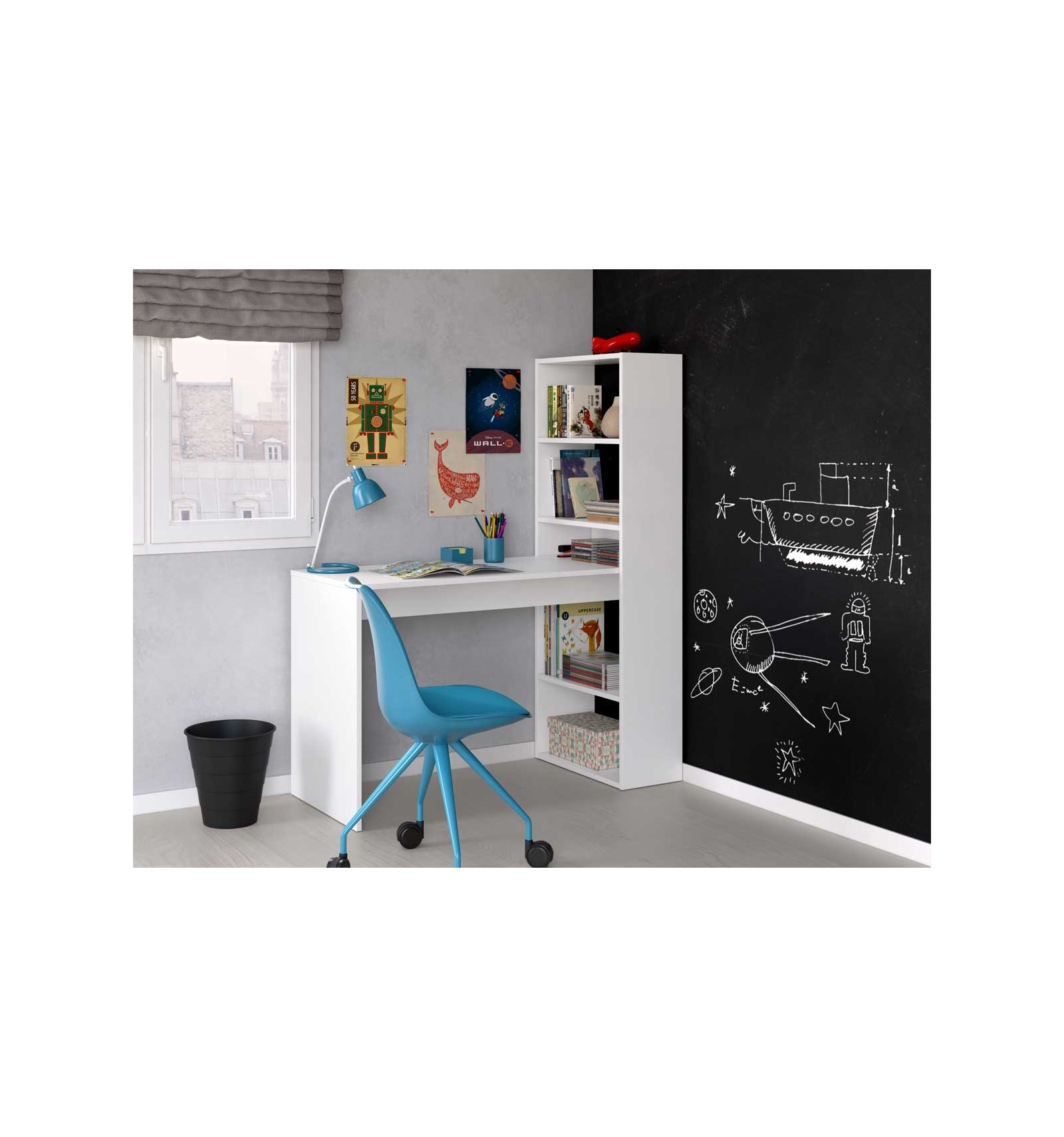 Schreibtisch Mit Bücherregal